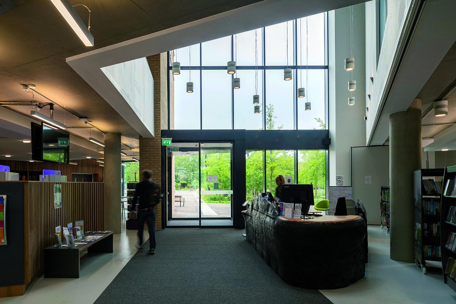 Clay Farm Centre library entrance